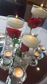 Red Roses Floating Candle Cylinder Vase Trio Wedding Centrepieces - 7 available