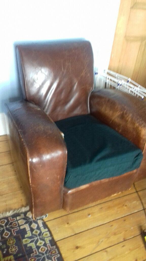 Admirable Leather Arm Chair Art Deco 1930S Style In East End Glasgow Gumtree Frankydiablos Diy Chair Ideas Frankydiabloscom