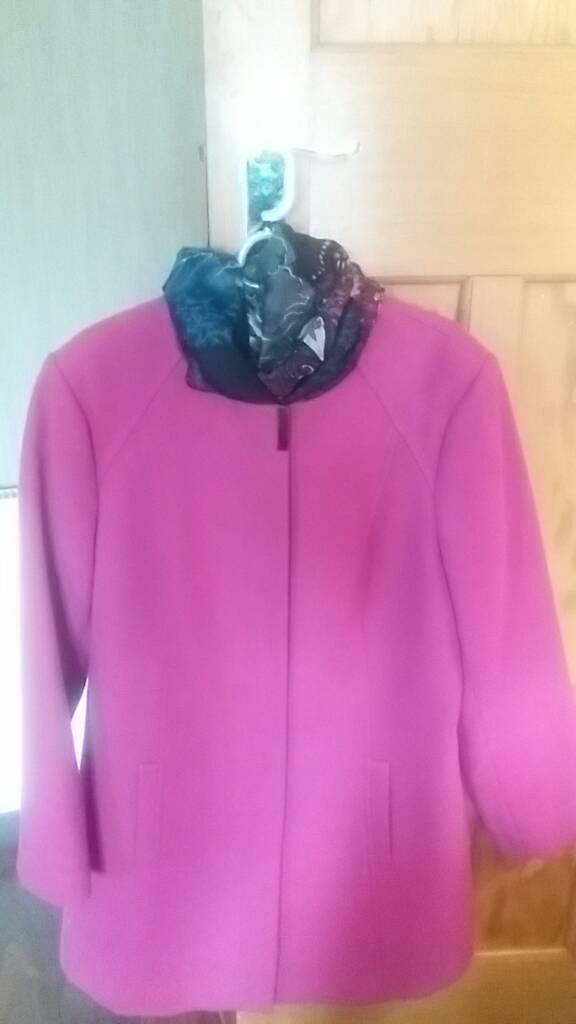 Ladies/woman's wool mid length coat/jacket in cerise pink