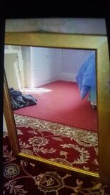 Gold Bevelled Glass Mirror. Collect today cheap