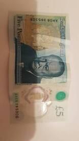 £5 note AH08 385306