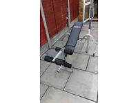 York Fitness Folding Barbell Bench including bar and various weights