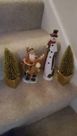 2 gold trees santa & snow man