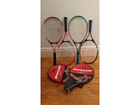 4 junior tennis rackets - Dunlop and Wilson - in excellent condition