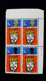 BLOCK OF 4 3d CHRISTMAS 1966 STAMPS