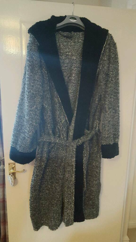 Large grey and black men's hooded dressing gown