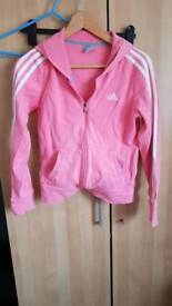 Pink adidas hooded jacket size 10