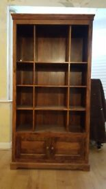 Solid Dark Wood Display Cabinet / Book Case