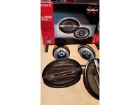 Sony car speakers x 2 set, amplifier, sub-woofer and box