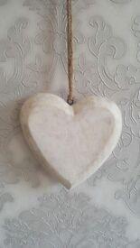 Shabby Chic White Wooden Heart