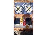Picnic Basket 4 place settings storage jars sandwich boxes cruet set Thermos flask