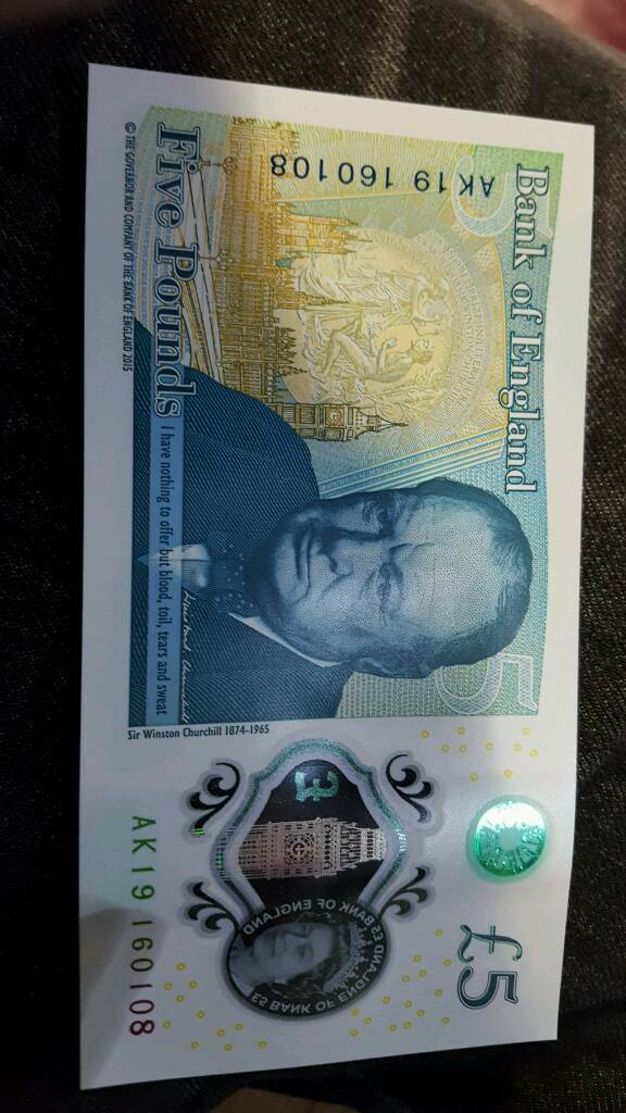 Brand new £5 note- AK19 Serial Code