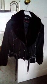 Bomber jacket grey black with removable fake fur collar size 12