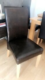 4 x faux leather chairs