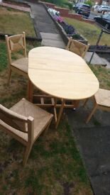 Foldable table and 4 chairs