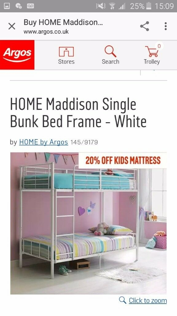 White metal frame bunk beds