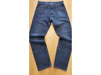 "MENS FARRELL SIGNATURE BRANDED VINTAGE TAPERED SELVEDGE DESIGNER DENIM JEANS 30""W-34""L"