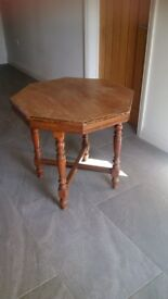 solid wooden vintage hexagonal or octagonal (!) table