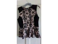 Dorothy Perkins Peplum top size 16 black/blush pink with black pattern