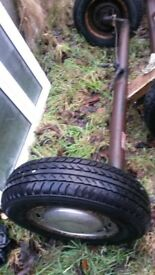 2 complete axle 4 stud wheels tyres brake all ready to go