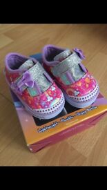 Baby girls sketchers, size 1, worn once with box