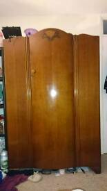 Antique wooden wardrobe with key