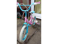 """Lily 14"""" girl's bike with stabilisers"""