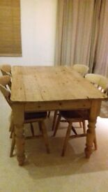 Solid pine farmhouse dining table and chairs