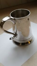 Antique George III Newcastle Sterling Silver Pint tankard