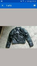 "GIRLS ""LEATHER"" JACKET BY H & M AGE 9/10"