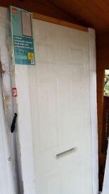 BRAND NEW 6 PANEL WHITE COMPOSITE FRONT DOOR,