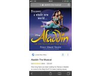 Tickets for Aladdin the musical in London!!! Great seats! Monday 20th 7.30!