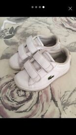 Infant size 4 Lacoste trainers