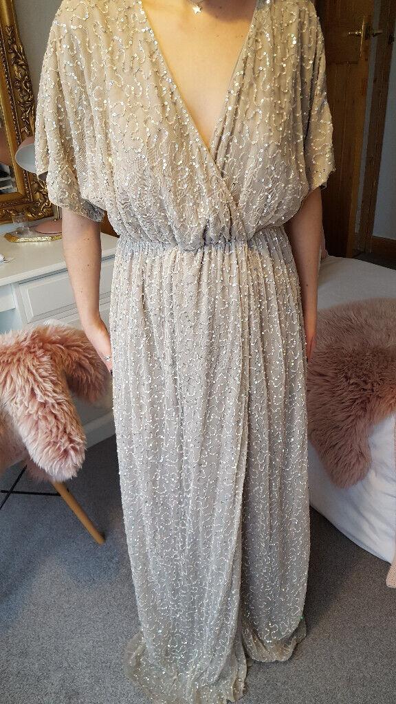 b18796303dd Asos beige kimono maxi dress with underdress - size 8