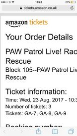 3 x tickets to Paw Patrol Live at Leeds First Direct Arena 23/08/17 at 10.30am Block 105