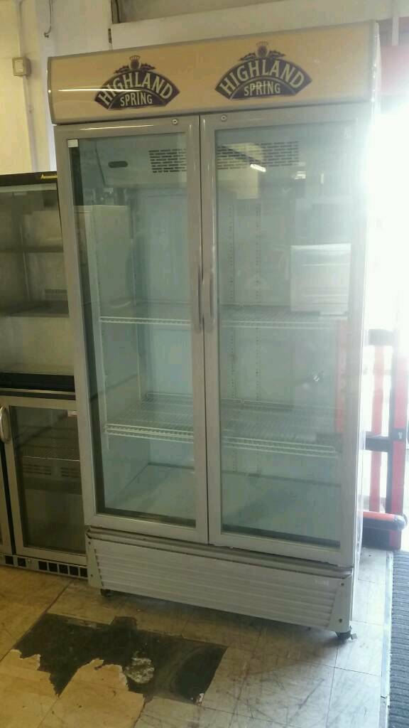 Tall commercial double door drinks fridge. Can deliver