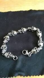 stainless steel skull bracelet 8 inches long