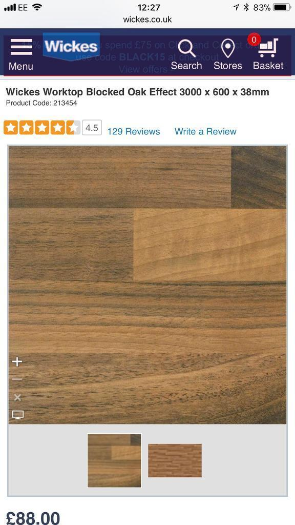 Wickes Worktop Blocked Oak Effect 3000 x 600 x 38mm | in ...