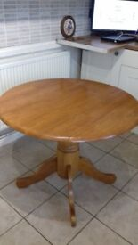 Solid Pine Extendable Dining Table with Centre Pedestal Leg..Ideal for Kitchen Dining.