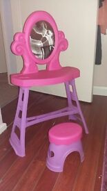 Childrens pink and purple dressing table