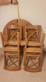 Pine dinning table & chairs