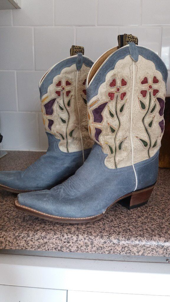 LADIES SIZE 7 COWBOY BOOTSin Paignton, DevonGumtree - Genuine leather cowboy boots bought in America. Ladies size 7 with hand stitched leather soles. Pale blue leather with lovely design up the leg with a crackled leather effect. Barely worn and in excellent condition. Cash on collection