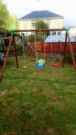 LITTLE TIKES TRIPLE SWING .WOODEN FRAME GOOD CONDITION