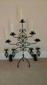 Wrought iron wall candle holders and stand