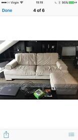 Leather 3 seater cream sofa