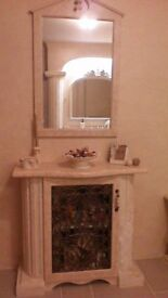 HALL/BATHROOM UNIT,&MATCHING MIRROR, ONE OFF, ORIGINAL PIECE, SEE PICS AND DETAILS FOR SIZES