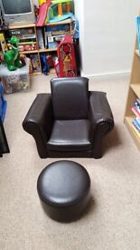 Childs leather chair and stool