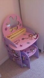 Fairy girls wooden dressing table and stool