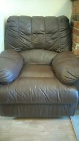 FREE TO FIRST COLLECTOR Pair of faux leather reclining armchairs
