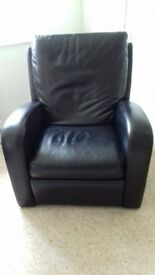 Recliner black leather in excellent condition. Sale due to house move
